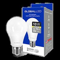 LED лампа GLOBAL A60 10W 3000K (мягкий свет) 220V E27 AL (1-GBL-163)