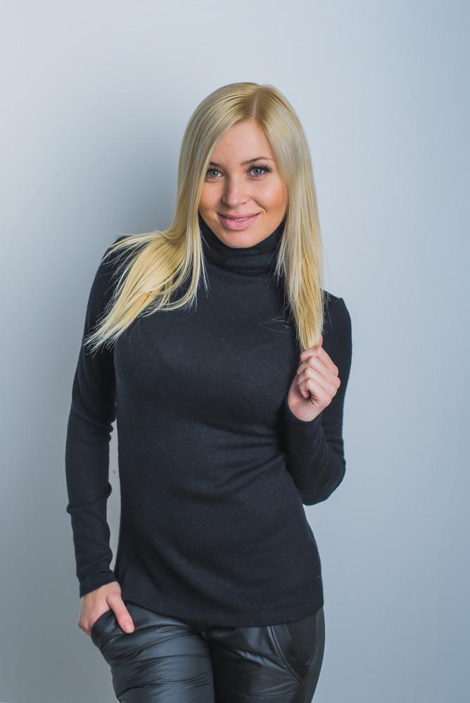 Водолазка женская шерсть черная