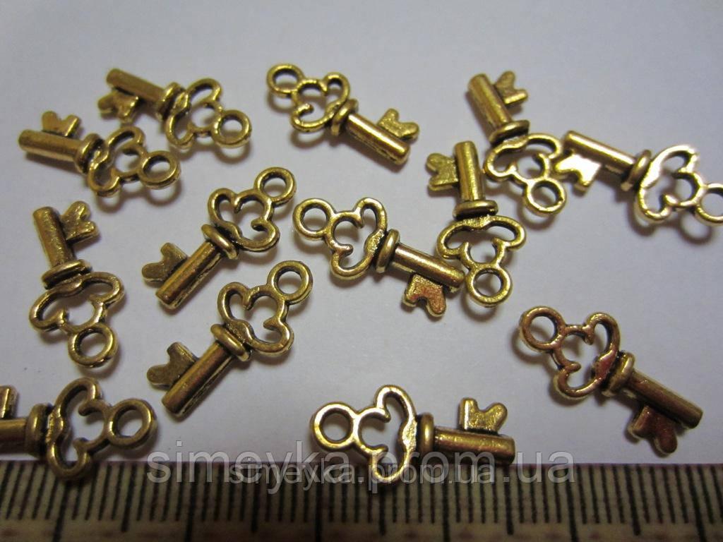 """Кулон (подвеска) """"Ключик"""" металлическая, цвет золотистый, размер 16*0,8 мм, отверстие 2 мм"""