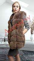 Жилет натуральный  мех песец 75 см цвет капучино, фото 1