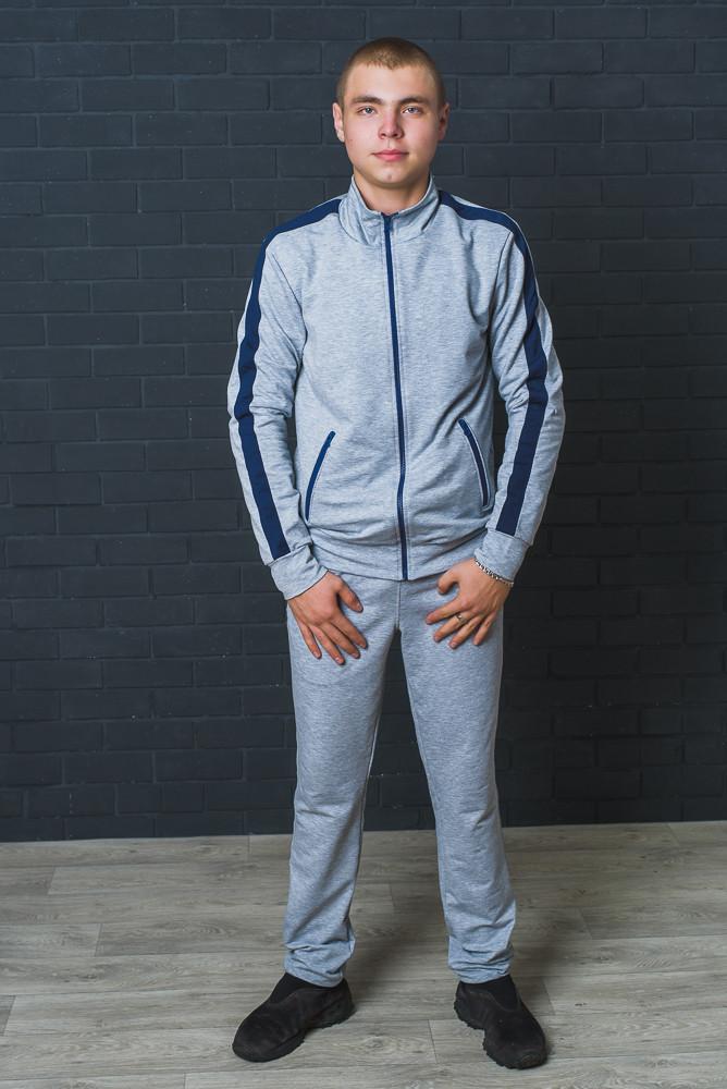 Спортивный мужской костюм  светло-серый+синий