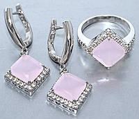 """Набор  """"серьги и кольцо"""",покрытие родием. Камень:белый и розовый циркон. Высота серьги: 3,5 см Ширина: 15 мм"""