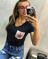 """Модная, женская футболка """"Нагрудный кармашек с принтом звезды или руки"""", камни Svarovski"""