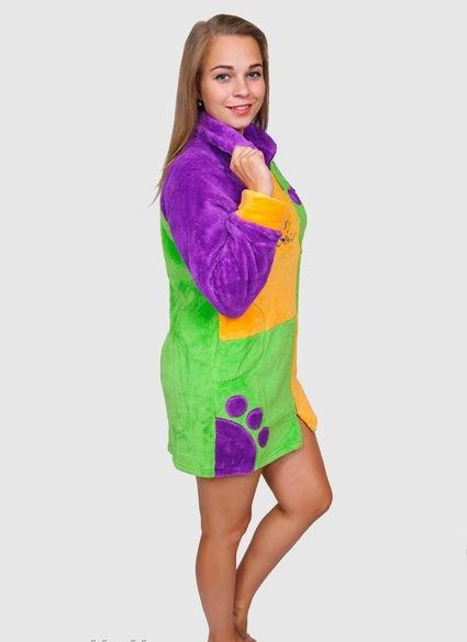Різнобарвний махровий халат жіночий