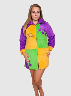 Різнобарвний махровий халат жіночий, фото 2