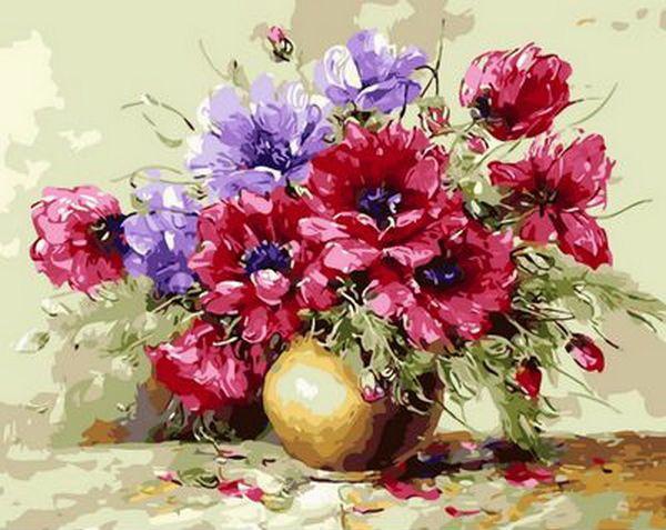 Набор-раскраска по номерам Яркий букет  худ. Антонио Джанильятти