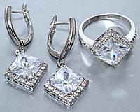 """Набор  """"серьги и кольцо"""",покрытие родием. Камень:белый циркон. Высота серьги: 3,5 см Ширина: 15 мм"""