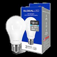 LED лампа GLOBAL A60 10W 4100K (яркий свет) 220V E27 AL (1-GBL-164)