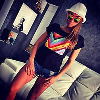 """Модная, женская футболка с принтом """"Разноцветный зигзаг"""""""