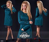 Платье  трикотажное с французским кружевом по низу