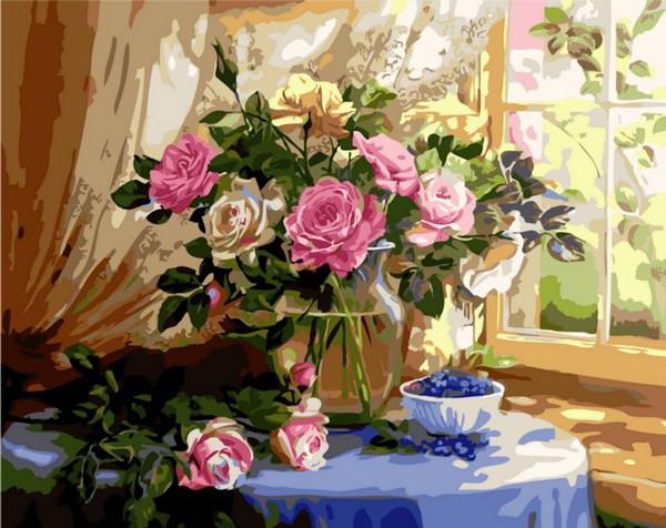 Набор-раскраска по номерам Натюрморт с розами и черникой  худ. Жанна Когай