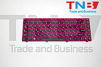 Клавиатура Lenovo IdeaPad Z370 Z470 черная с розовой рамкой RU/US