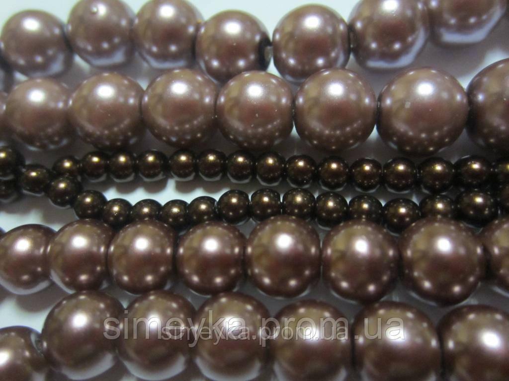 Бусина керамическая 10 мм (1 см), цвет молочного шоколада, упаковка 10 шт.