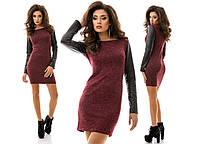 Платье ангоровое с кожаными рукавами