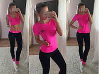 """Модный  костюм в спортивном стиле """" Тройка: футболка, топ + лосины  ADIDAS"""" РАЗНЫЕ ЦВЕТА"""