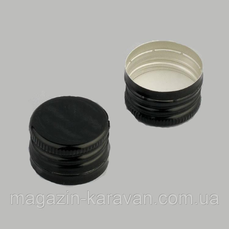 Колпачок алюминиевый 28*18 черный резьба 25 штук
