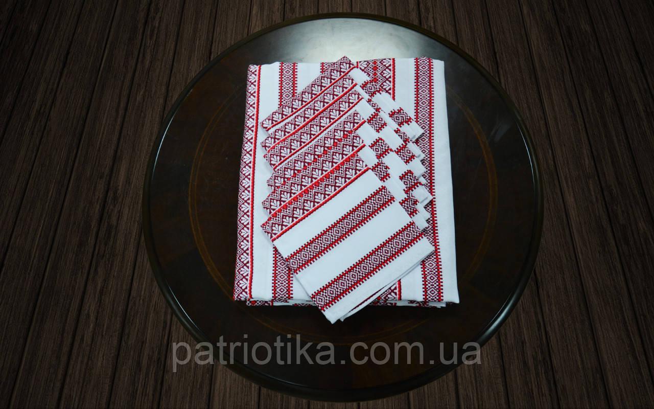 Скатерть с салфетками красная | Скатертина з серветками 190х140