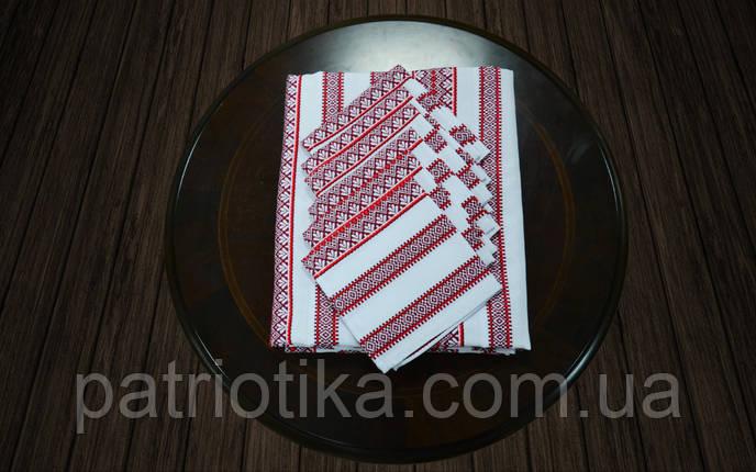 Скатерть с салфетками красная | Скатертина з серветками 190х140, фото 2