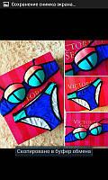"""Супермодный этим летом открытый купальник """"Victoria's Secret черный кантик"""" РАЗНЫЕ ЦВЕТА"""