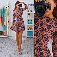 Платье короткое с пышной юбкой трикотаж жаккард в винтажный узор разные цвета SMb872