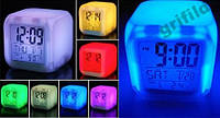 Светодиодные часы, c термометром будильник ночник Hello Kitty, часы хамелеон, светящиеся, 508