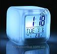 Светодиодные часы, c термометром будильник ночник Hello Kitty, часы хамелеон, светящиеся, CX-508, фото 2
