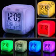 Светодиодные часы, c термометром будильник ночник Hello Kitty, часы хамелеон, светящиеся, CX-508, фото 3