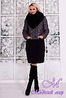 Женское элегантное зимнее пальто с мехом р. (S-XXL) арт. Мальта букле песец зима 7363