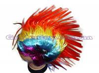 Парик разноцветный с красным ирокезом