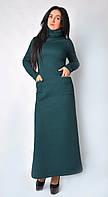 Модное длинное платье с фурнитурой на карманах