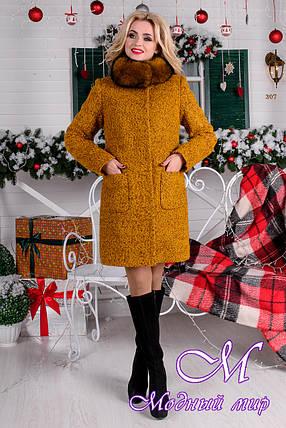 Женское стильное зимнее пальто р. (S-L) арт. Мелини букле песец зима 7783, фото 2