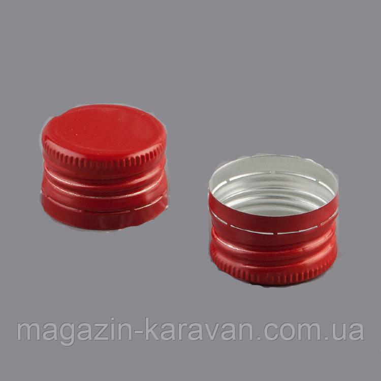 Колпачок алюминиевый 28*18 красный резьба