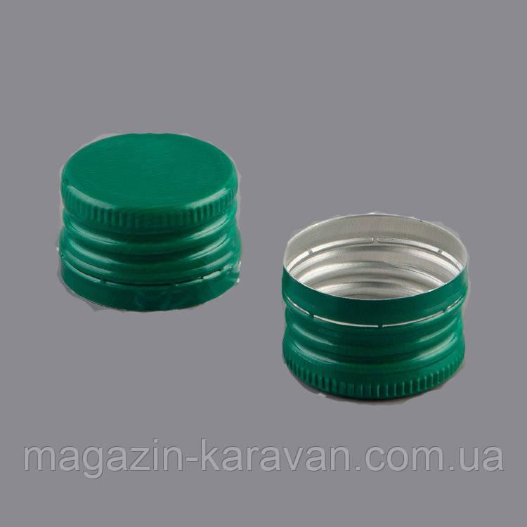 Колпачок алюминиевый 28*18 зеленый резьба