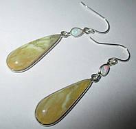 Серебряные серьги с желтым и эфиопским опалом    от студии LadyStyle.Biz