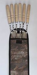 Набор шампуров с деревянной  ручкой 6шт + мангал + чехол