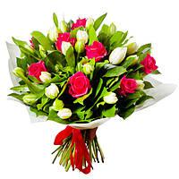 Тюльпаны и розы букет