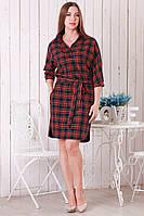 Женское платье-рубашка в клетку р.46-50 Y251-2