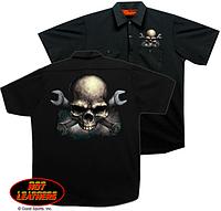 Тениска Hot Leathers Skull & Wrench Bones Mechanic's (M)