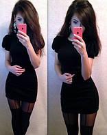 Платье плече-фонарик, три цвета!!! черное