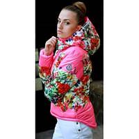 Женская зимняя куртка-уточка MONCLER с принтом цветы