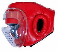 Шлем боксерский кожанный с забралом Zelart
