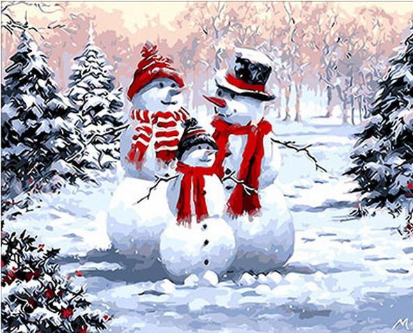 Набор-раскраска по номерам Семейство снеговиков худ. Ричард Макнейл