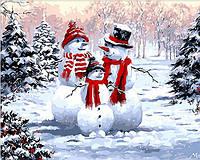 """Раскраска по номерам """"Семейство снеговиков"""" худ. Ричард Макнейл"""