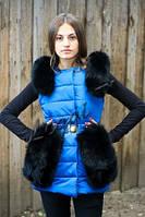 Женский жилет Moncler с натуральным мехом