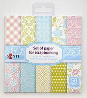 Набор бумаги для скрапбукинга, 50шт/уп., 15*15см, розово-голубый951930