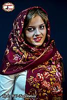 Женский  павлопосадский палантин Цветы