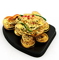 Жаба золото на подставке каменная крошка (8х6,5х4,5 см)