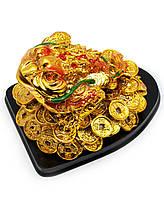 Жаба на подставке каменная крошка золото (12х9х8 см)