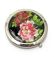 Зеркальце косметическое Перламутр (d-7 см) (в коробке + чехольчик)