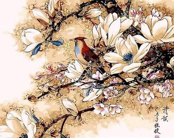 Набор-раскраска по номерам Королек птичка певчая худ.  Чижин Хонгджун